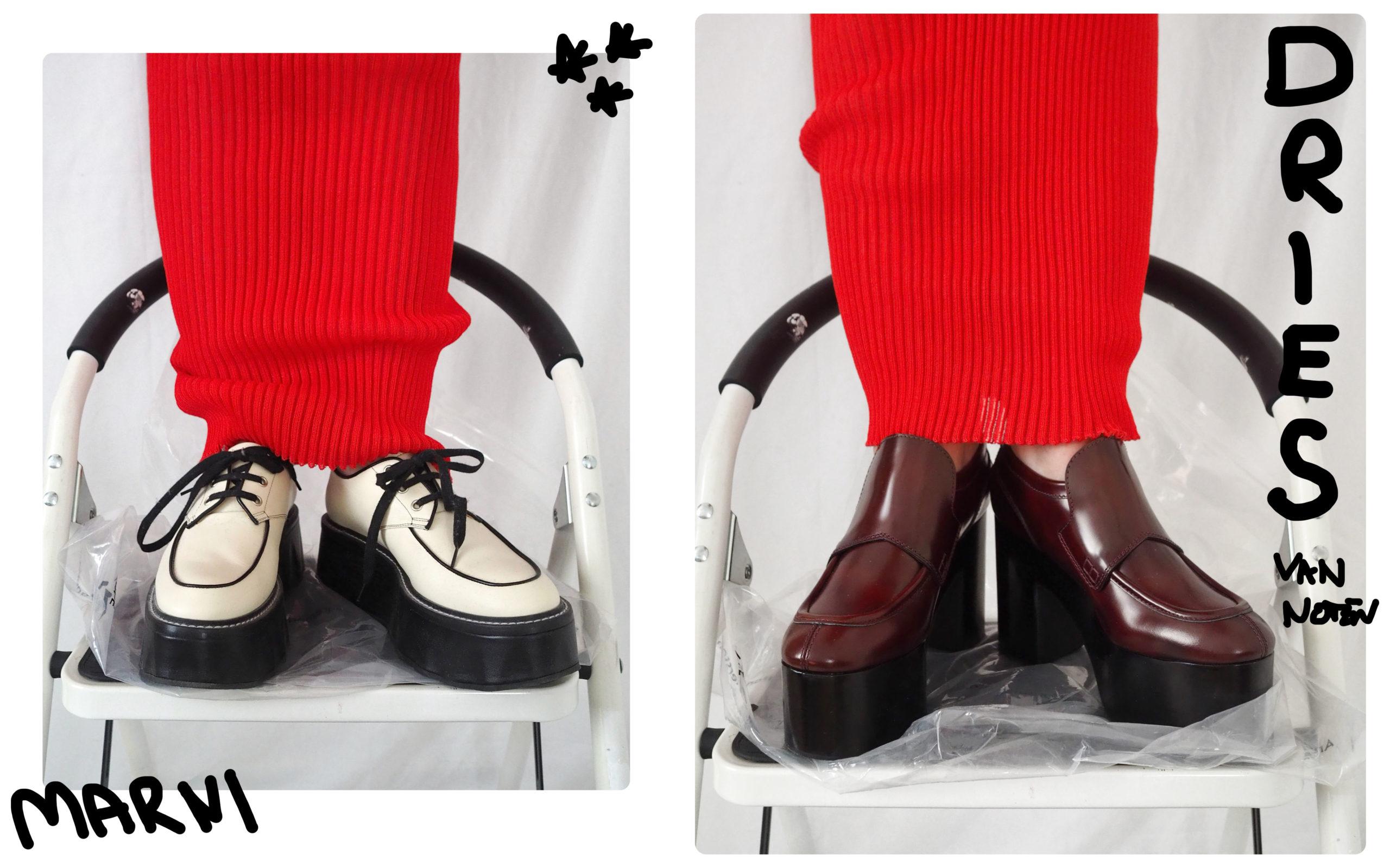 White Marni Platform shoes, Burgundy Dries van Noten Platform Heels