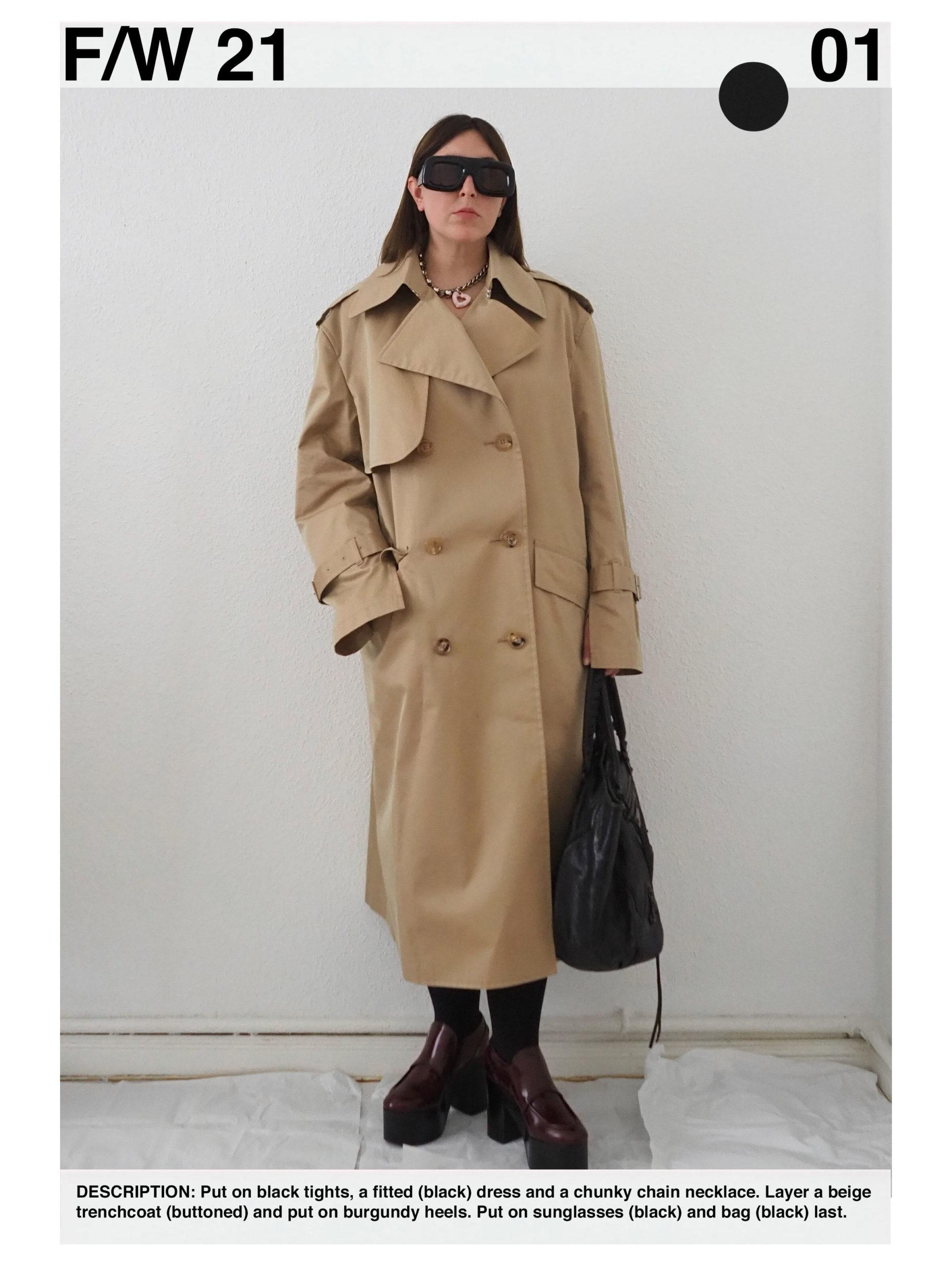 Outfit: Junya Watanabe beige trenchcoat, Dries van Noten platform loafers, Acne Studios black oversized sunglasses, Acne Studios chunky chain necklace, Vintage black Balenciaga City bag
