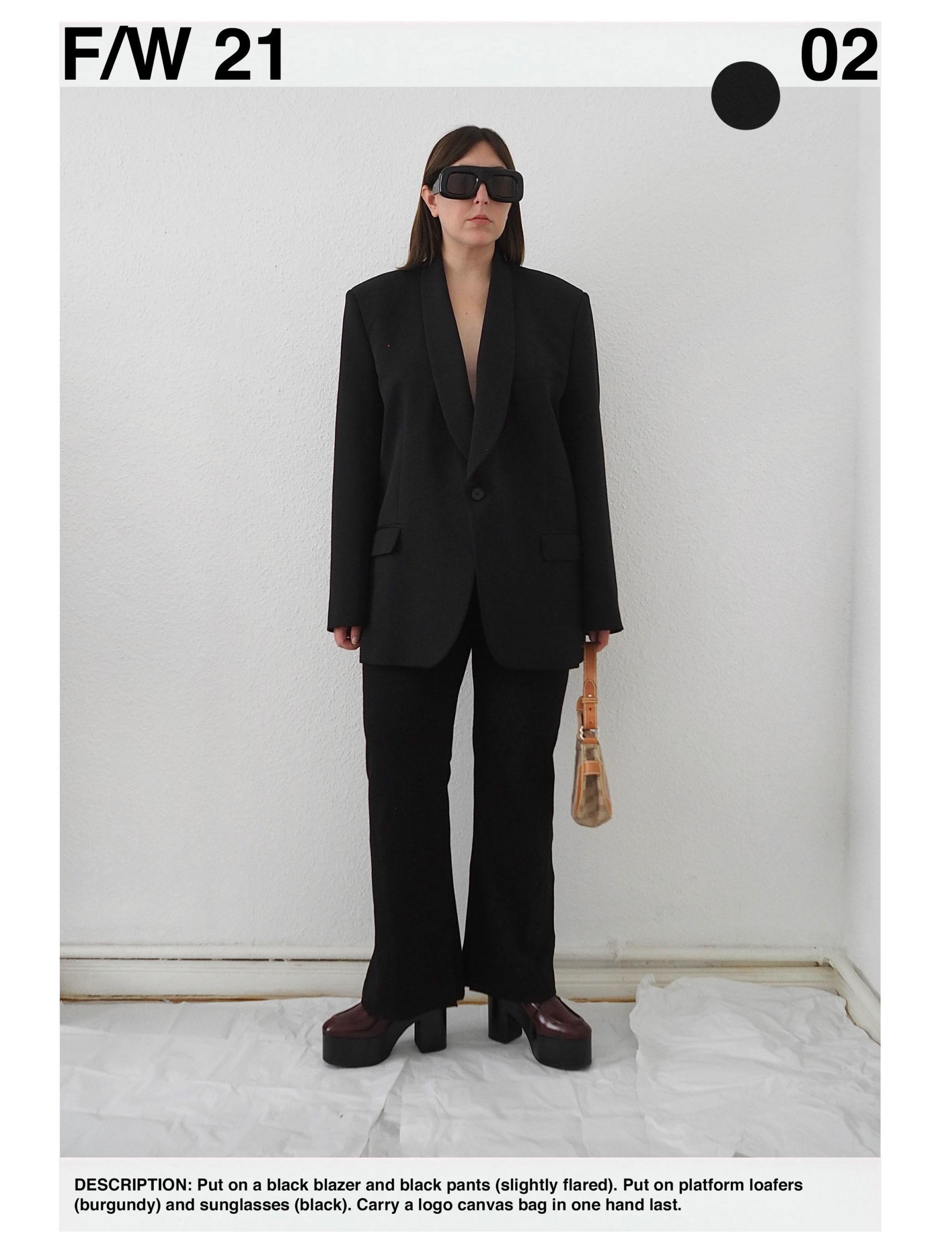 Outfit: Black Maison Margiela oversized blazer, black flared Filippa K pants, burgundy Dries van Noten platform loafers, Acne Studios black oversized sunglasses, Vintage logo canvas Balenciaga bag