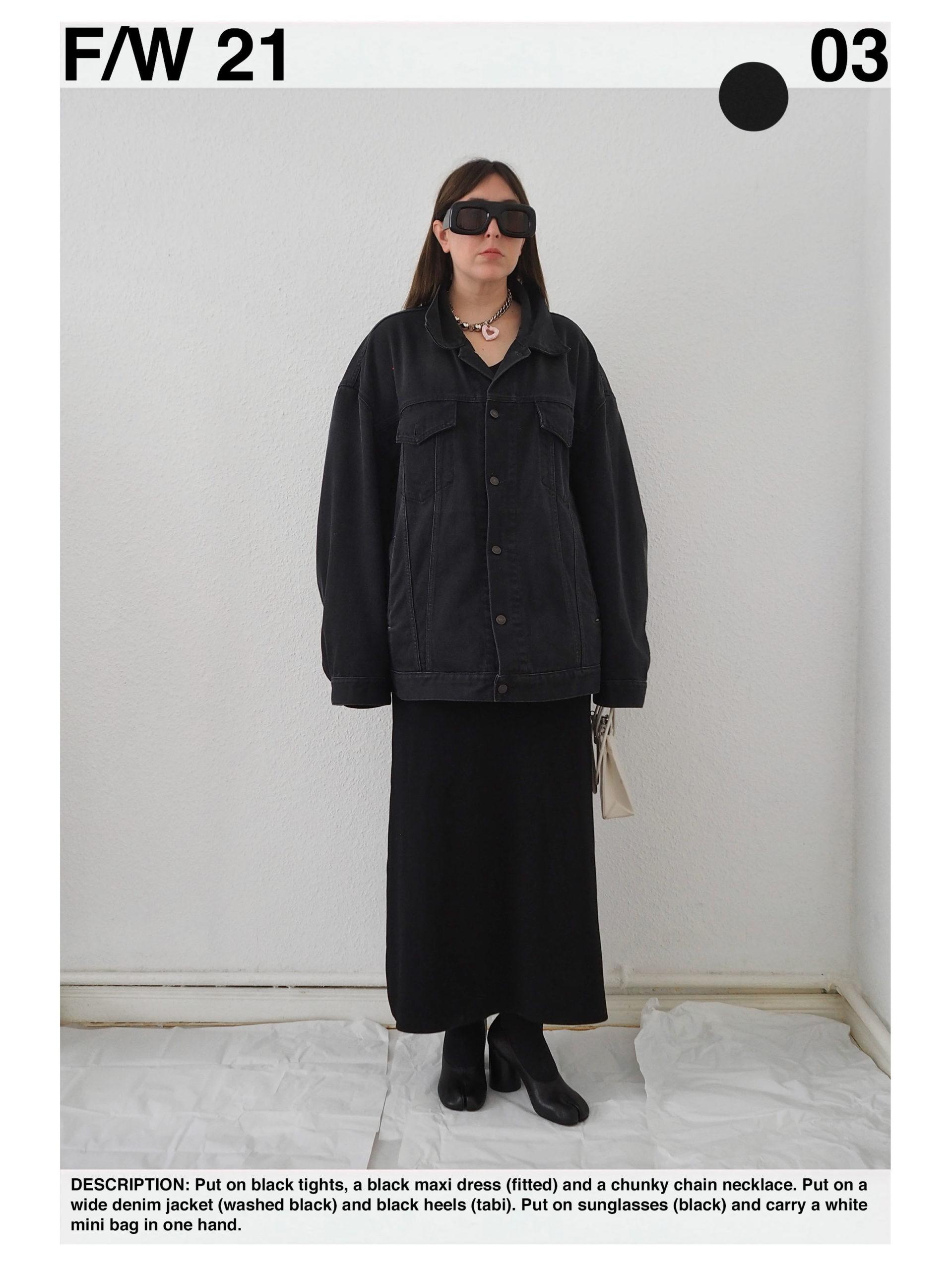 Outfit: black Toteme maxi dress, oversized black Acne Studios denim jacket, black Maison Margiela tabi pumps, Acne Studios black oversized sunglasses, Acne Studios chunky chain necklace, white Medea mini bag